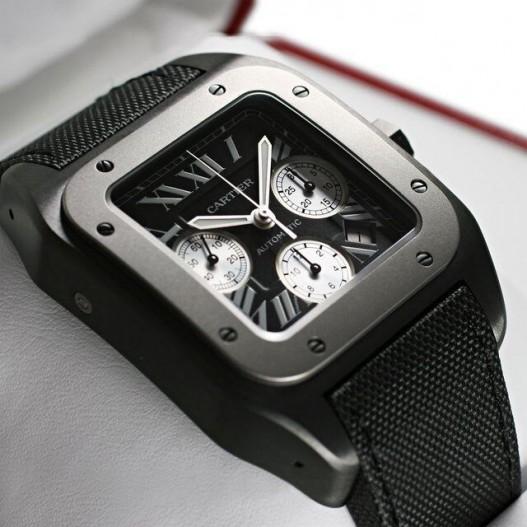 Cartier-Replica-Santos-Chronograph-Black-Dial