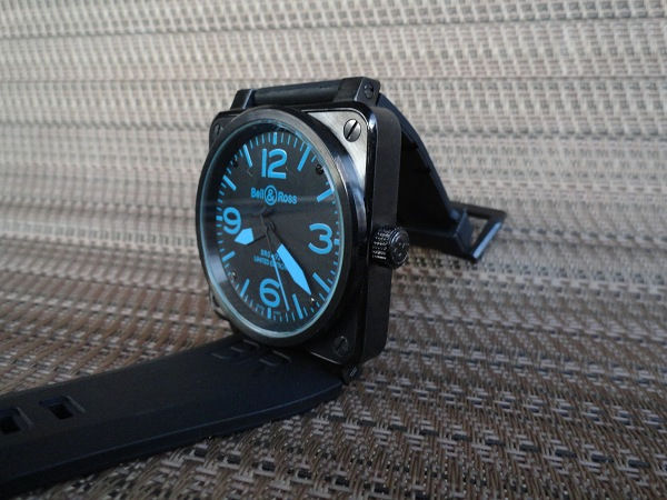 Bell & Ross Replica carbonio Blu Corona dell'orologio Vista laterale