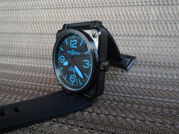 Bell & Ross Replica carbonio Blu Corona dell'orologio Vista laterale