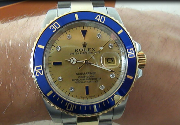 Rolex-Submariner-champagne-diamante-Replica