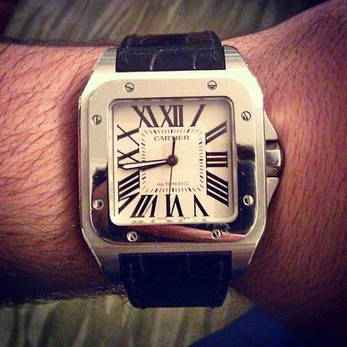 Cartier-Replica-Santos-Bracciale-In-Pelle-Quadrante-Bianco-Nero